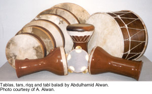 Tablas, tars, riqq and tabl baladi by Abdulhamid Alwan.  Photo courtesy of Abdulhamid  Alwan.