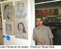 Juan Flores at his studio.  Photo by Twyla Clark.