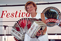Marie Kubowski and concertina. Photo by Andy Kraushaar.