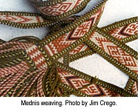 Mednis weaving. Photo by Jim Crego.