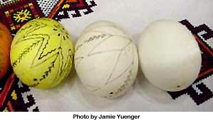 Eggs with basic pencil design. Photo by Jamie Yuenger.