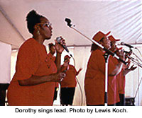 Dorothy sings lead. Photo by Lewis Koch.